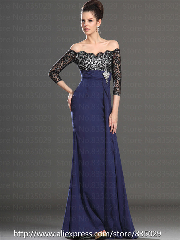 Three Quarter Sleeve Off the Shoulder Lace Bodice Long Elegant ...