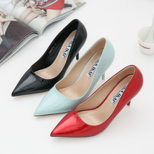 LALA IKAI Spring Elegant Pumps Women PU Material High Heels Woman Pointed Toe Slip-On Ladies Office & Career Shoes XWC0706-2