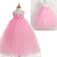 Fashion High Quality Crochet Boutique Kids Pink Tutu Flower Dress For 2 To 10 Year Old