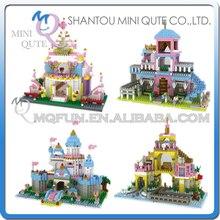 Full Set 4pcs Mini Qute YZ princess castle girls kids gift plastic building block bricks assemble DIY education educational toy