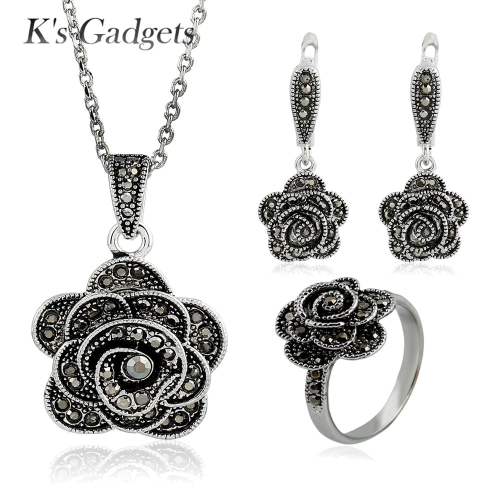 Black Crystal Rhinestone Jewelry Set Fashion Antique Silver Plated Rose  Flowers Necklace And Earring Ring Jewellery Sets
