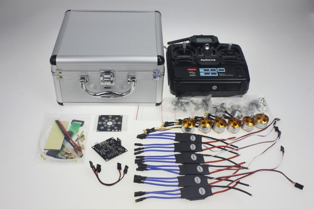 цена на Silver Quadrocopter Case With T6EHP-E Transmitter 30A ESC Dean T Plug A2212 1000KV Motor ESC Board V2.3 Blackboard Y10335-E