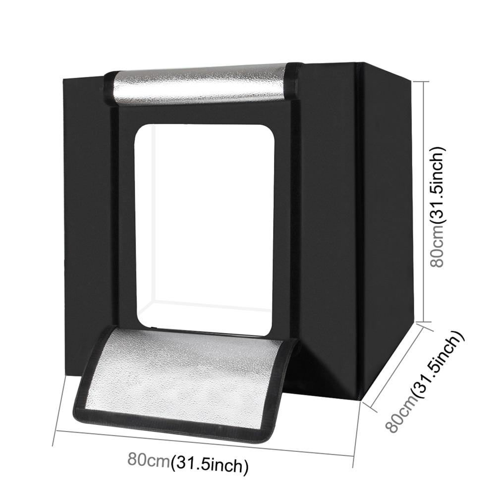 Folding Photo Box Studio Light Box Portable Softbox 80 80 80cm 5600K High Bright 80W Lightbox Photography Studio Shooting Tent in Photo Studio Accessories from Consumer Electronics