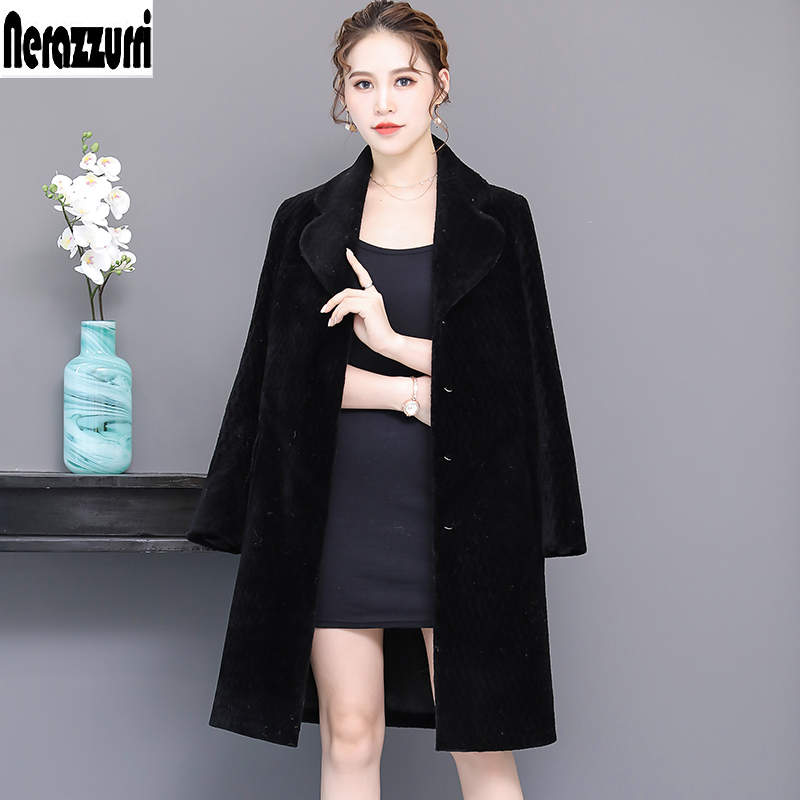 Nerazzurri real sheep fur jacket women 2019 winter black long shearling lamb fur coats natural fur