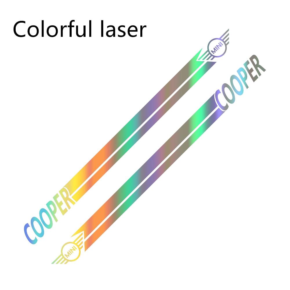 Наклейки для автомобиля сбоку в полоску спортивный стиль наклейки для Mini Cooper R56 R57 R58 R50 R52 R53 R59 R61 R60 F60 F55 F56 F54 аксессуары - Название цвета: Colorful Laser