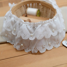 5Yards/lot Double Layers Plait White Chiffon Ruffle Lace Trim with Pearl DIY Garment Skirt Hem Accessories Fabric