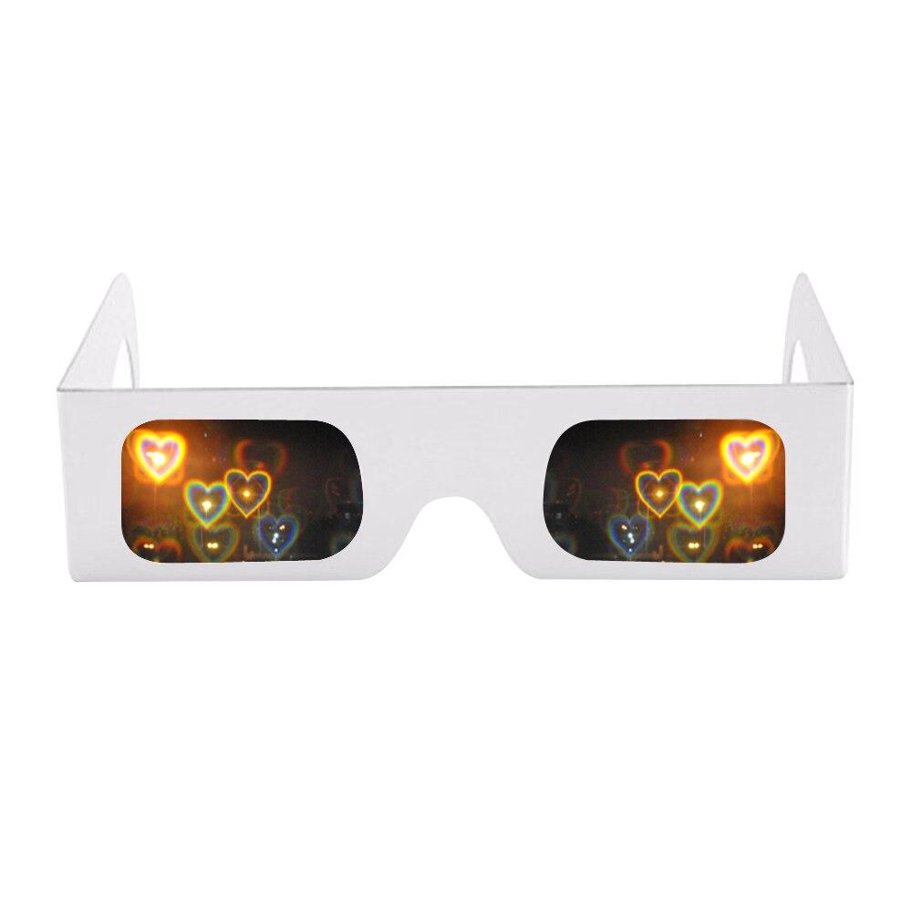 5pcs Packs Love Lens Heart Diffraction Prism Fireworks Rave Glasses,Heart Luminescence Diffraction Rave Glasses