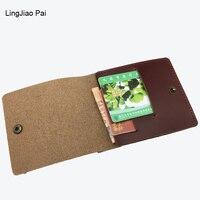 LingJiao Pai Genuine Leather Men Card Holder Credit Card Cover Case Organizer Coin Purse Small Mini