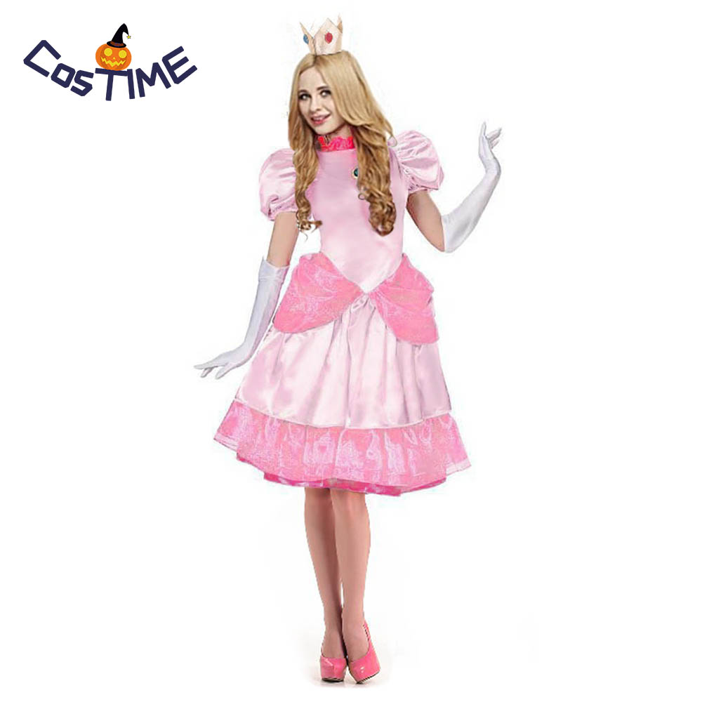 Dulexe Princess Peach Costume Adult Super Mario Brothers Princess Fancy Classic Game Dress Halloween Costume for Women