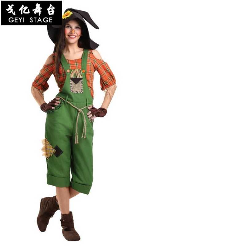 Wizard of OZ เครื่องแต่งกายเด็กผู้หญิงผู้ใหญ่ประสิทธิภาพหุ่นไล่กาคอสเพลย์แฟนซีปาร์ตี้ชุด Halloween Carnival เสื้อผ้ากับหมวก