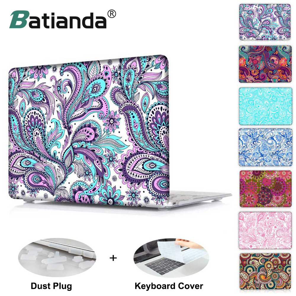 Crystal Hard Case for Apple MacBook Pro 13 inch & Air Retina 11 12 Paisley Pattern Cover for Pro 13 15 2016 2017 2018 Touch Bar fashionable ethnic paisley pattern bow tie for men