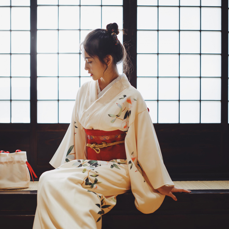 Print Floral Elegant Girl Dress Gown Vintage Kimono Japanese Classic Yukata With Obi Women Formal Evening Gown Cosplay Costume