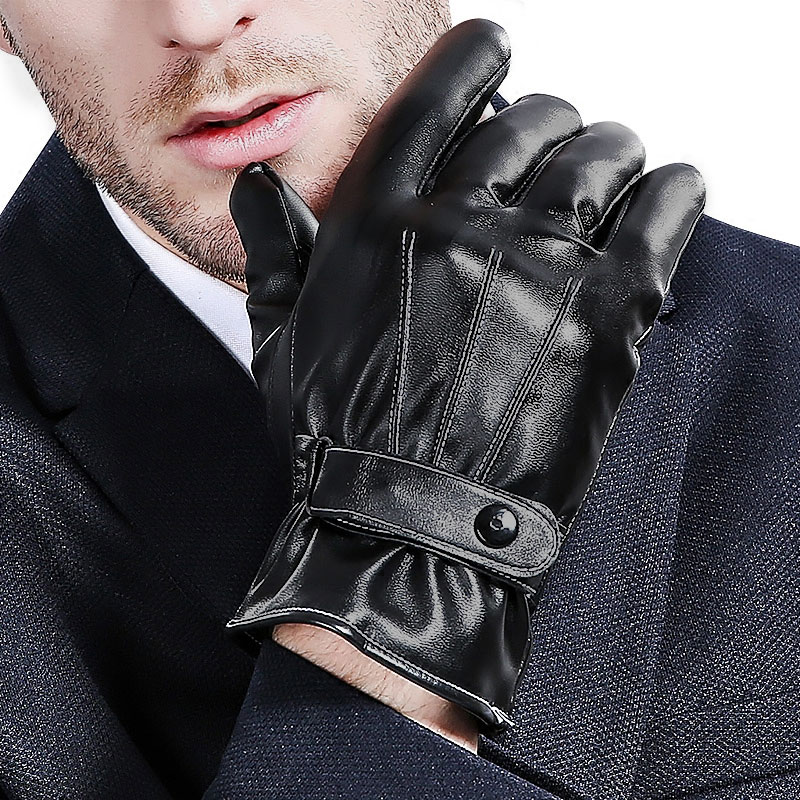 New PU Touch Screen Gloves and Autumn Winter Outdoor Winter Warm Cashmere Mittens Thermal Driving Gloves Students B-6107