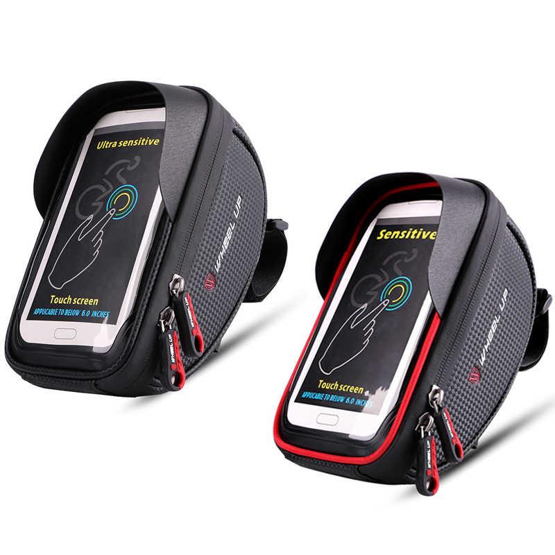 ล้อ 6 ''ผู้ถือจักรยานกันน้ำ MTB Road Bike Mount Touch Screen โทรศัพท์มือถือกรณีขี่จักรยานด้านบนกรอบจักรยานสนับสนุน