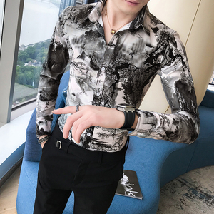Image 4 - Korean Slim Fit Men Shirt Brand New Long Sleeve Print Mens Casual Shirts Night Club/Party/Prom Dress Shirt Male Clothing 3XL M