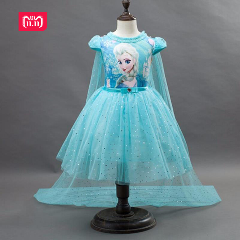 Customs Fashion Girls Children Clothes Anna Elsa Dress Girl Baby Elza Dresses For Girl's Kids Princess Infantis 2-10 years old