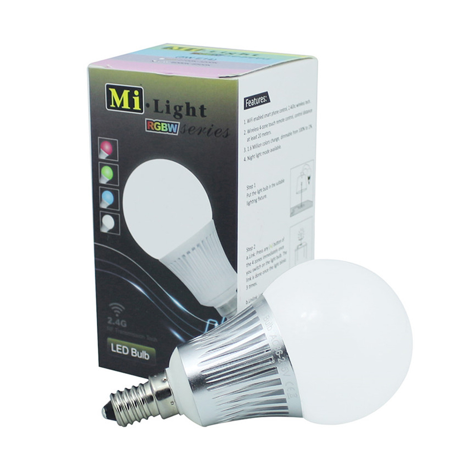 Milight E14 5W LED Bulbs AC86-265V Color Changeable 2.4G Wireless Lamps RGBWW RGBCW lampada Dimmable Lamp Spot light