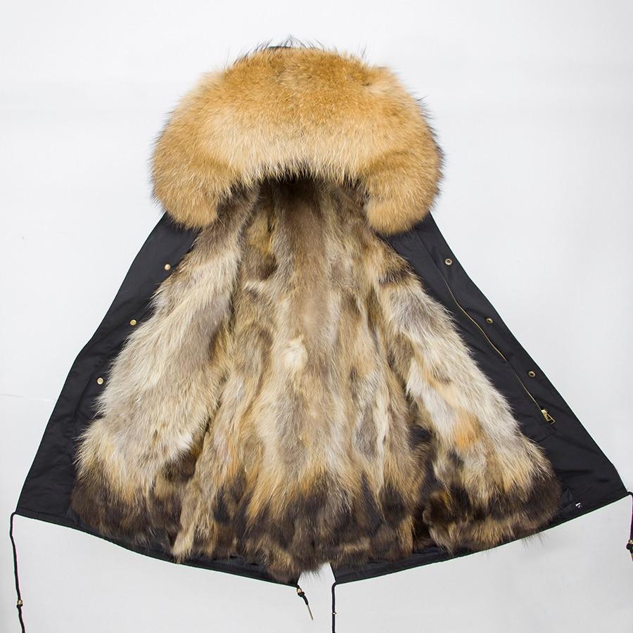 2019 Real Fur Coat Winter Jacket Women Long Parka Waterproof Big Natural Raccoon Fur Collar Hood Thick Warm Real Fox Fur Liner 93