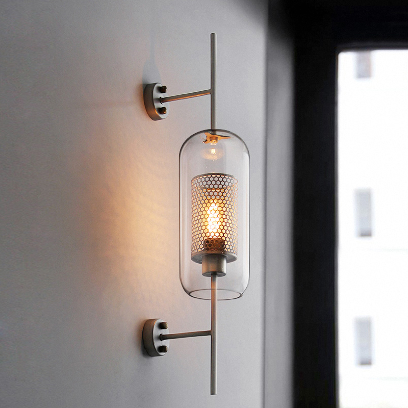 Modern Clear Glass Shade Scones Wall Lamps for Bedroom Bedsides Restaurant Study Hanging Lights Loft Retro Iron NET FixtureModern Clear Glass Shade Scones Wall Lamps for Bedroom Bedsides Restaurant Study Hanging Lights Loft Retro Iron NET Fixture