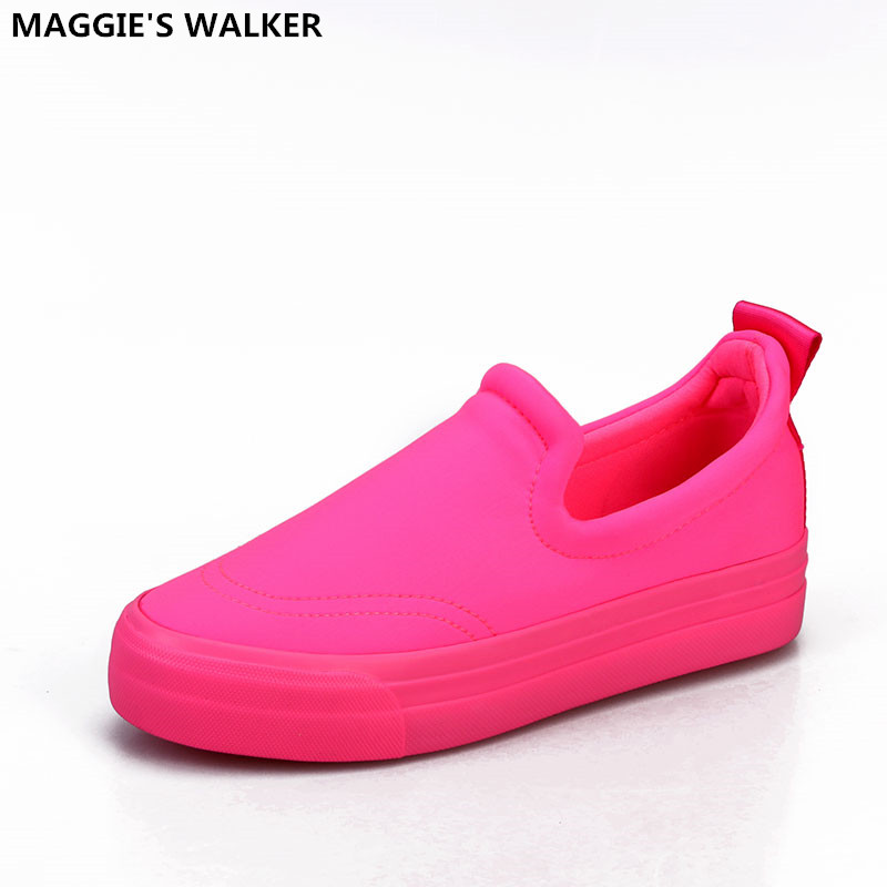 Maggie's Walker Women New Arrival Fashion Candy-Colored Casual Canvas Shoes High-top Muffin Thick Loafers Size 35~40 все цены