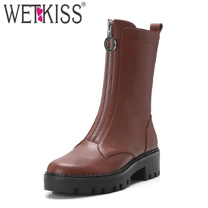 Thick donna Stivaletti Heels 2018 Cow Donna Shoes Zip Wetkiss Winter Punta Nero nero Stivale tonda Boot Med pelle marrone marrone New in donna qdxawI