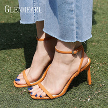 цена Leather Women Sandals Summer Shoes High Heels Ankle Strap Peep Toes Woman Party Shoes Black Slive Sandalia Mujer New Arrival DE онлайн в 2017 году