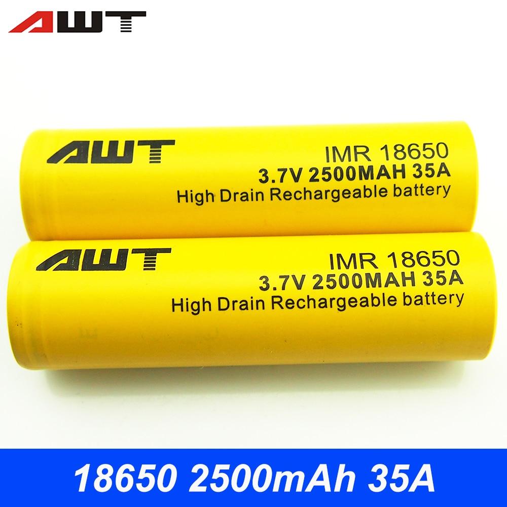 AWT 18650 Batteria 2500 mah 35A Batteria Ricaricabile per Vape Box Mod Subox Mini C Bauletto Mini VS ICR18650-25R Batteria t008