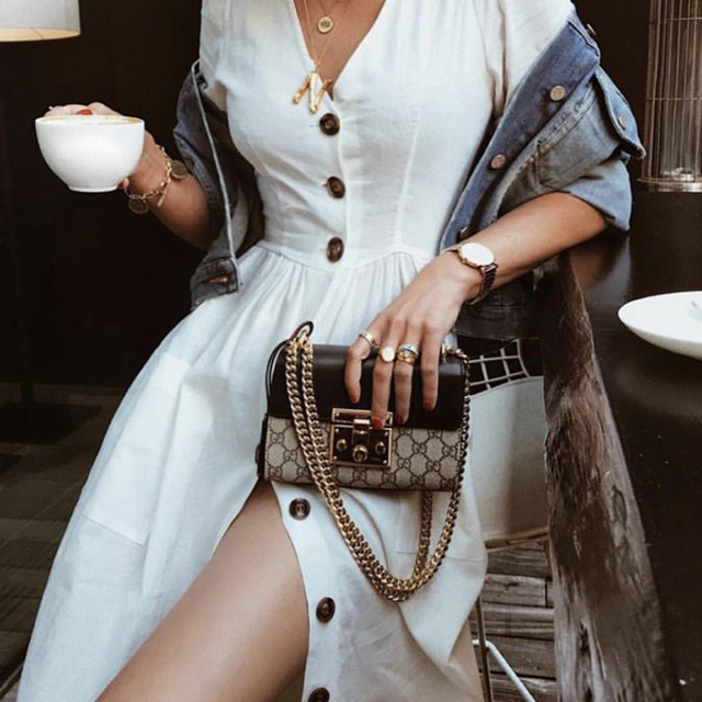566d4caaad0 2018 New Women Beach Casual Button Front Dress Vestidos Fall V-Neck Three  Quarter Sleeve White Parties Simple