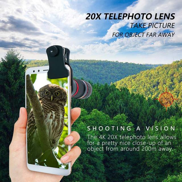20X Zoom Telephoto Lens HD Monocular Telescope Phone Camera Lens for iPhone 11 Xs Max XR X 8 7 Plus Android Smartphone Mobile 2