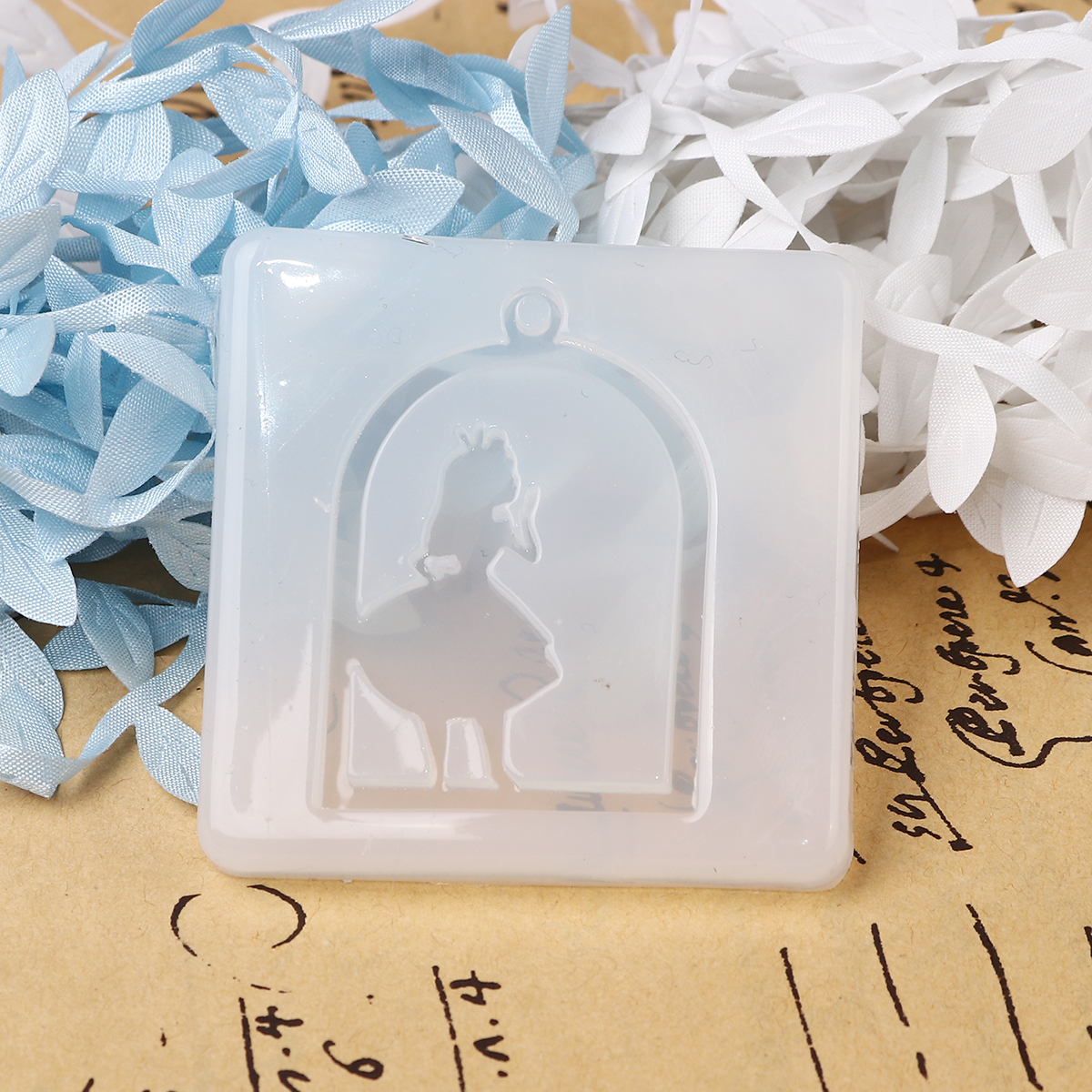 DoreenBeads Silicone Resin Mold For Jewelry Making Birdcage White Girl 58mm(2 2/8