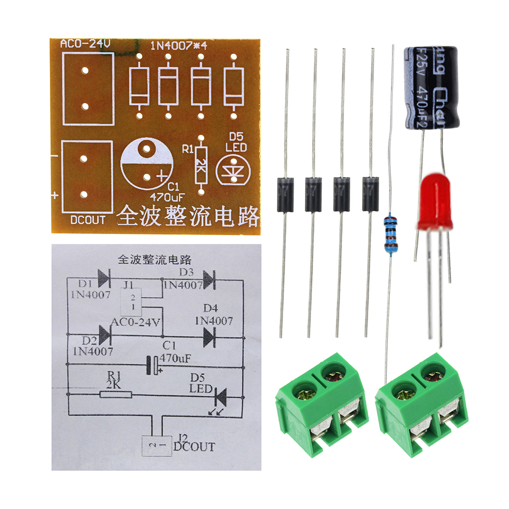 In4007 Ac To Dc Power Converter Full Wave Bridge Rectifier Kit Aeproductgetsubject