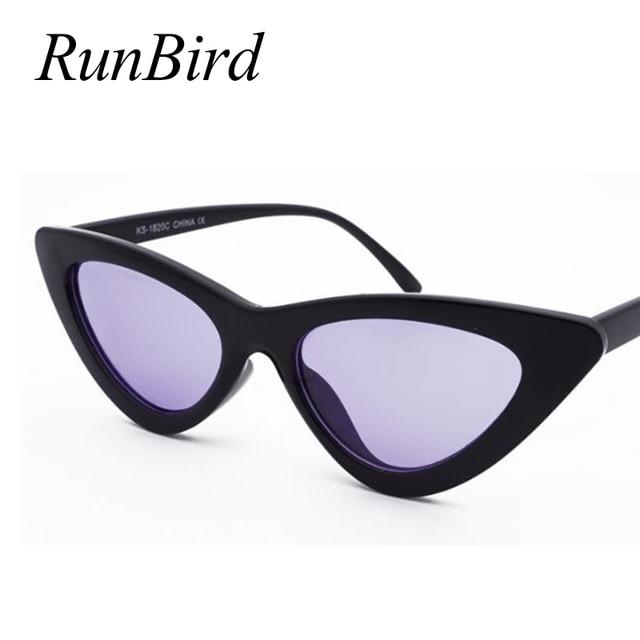 RunBird-lunettes de soleil œil de chat noir   Petite taille, Vintage rétro lunettes de soleil pour yeux de chat noir, décoration pour femme, Protection 1157R