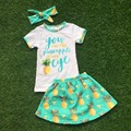 2016 Summer free shipping baby child  girls outfits dress green pineapple boutique clothes kids sets matching bow