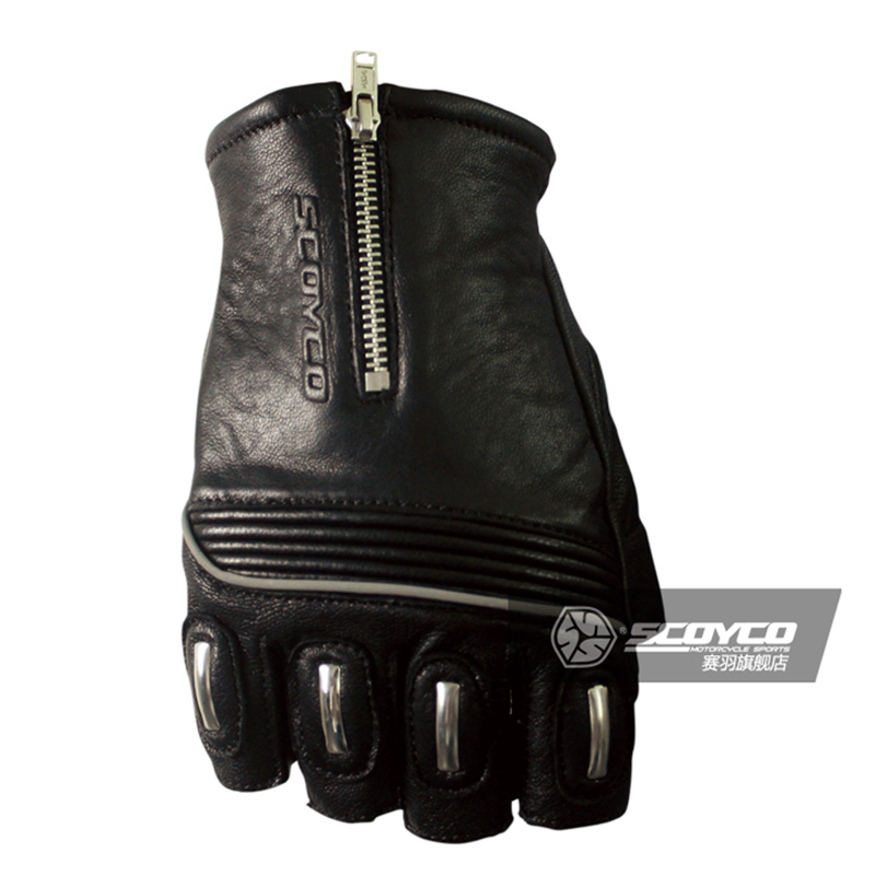 Scoyco genuine leather Motorcycle Gloves Half Finger goat skin Racing Gloves Motorbike MC25 sheepskin protective SWX