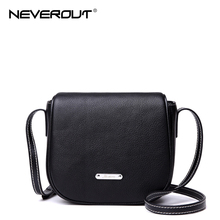 NeverOut Brand Design Saddle Bag for Women Genuine Real Leather Messenger Bag Solid Fashion Crossbody Bags