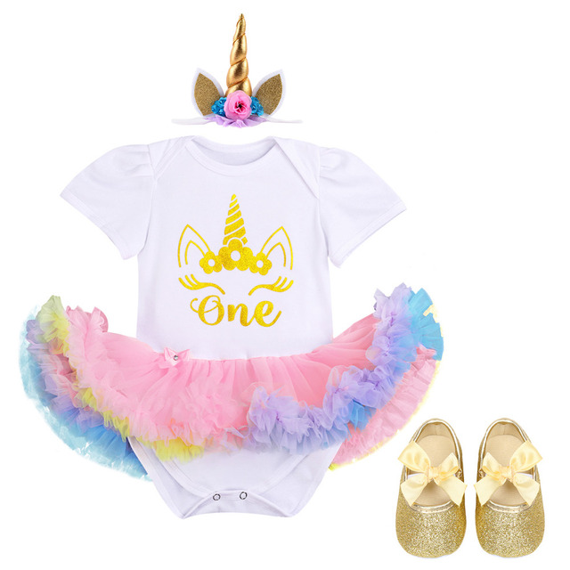 c25c48509183 3pcs Set Newborn Baby Girls 1st Birthday Romper Dress Headband Shoes Outfits  Unicorn Romper Dress Headband Outfits Cake Smash