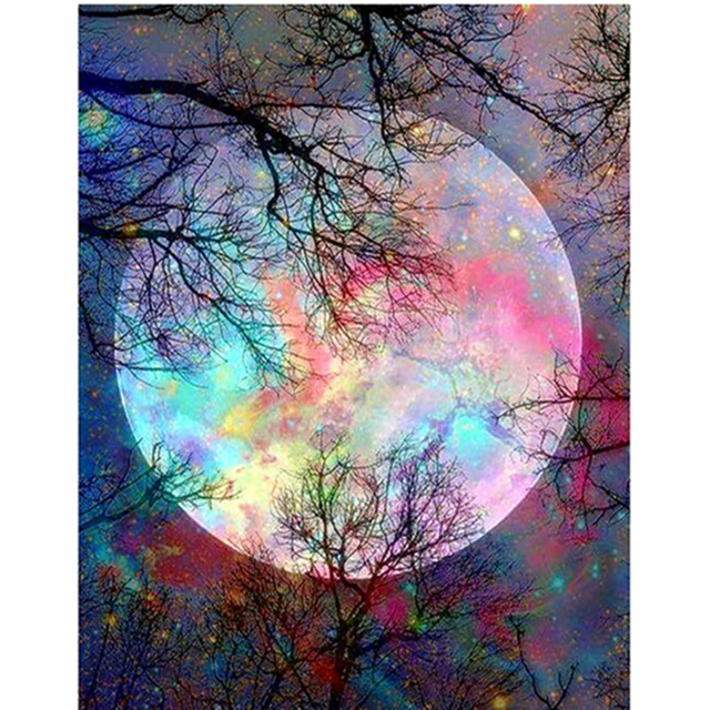 NEW Arrivals Full Square Drill 5D DIY Diamond Painting Colored moonlight Embroidery Cross Stitch Mosaic Home Decor Gift