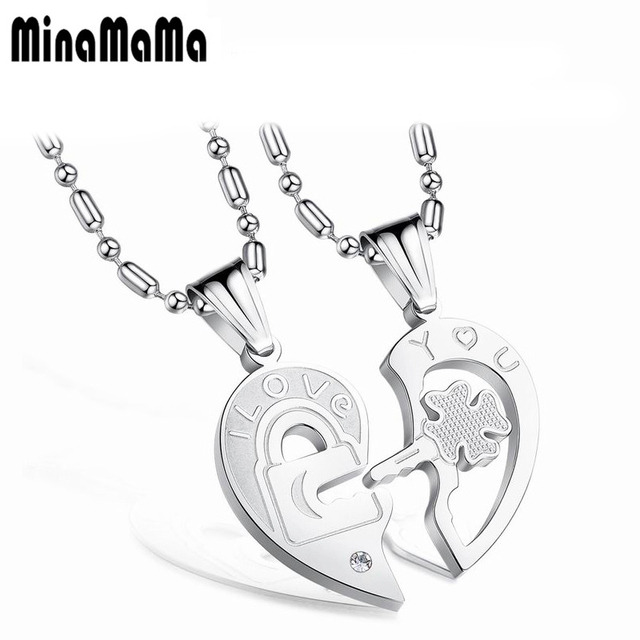 2pcs romantic 316l stainless steel heart pendant necklaces couple 2pcs romantic 316l stainless steel heart pendant necklaces couple lover half heart puzzle necklaces gift jewelry aloadofball Choice Image