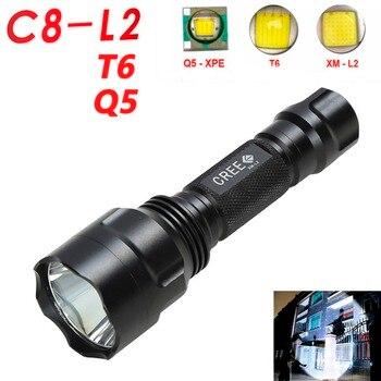 цена на ANJOET Black C8 Tactical flashlight XM-L L2/T6/Q5 LED Hunting Camping White Led Flashlight Torch Light Lamp18650 battery
