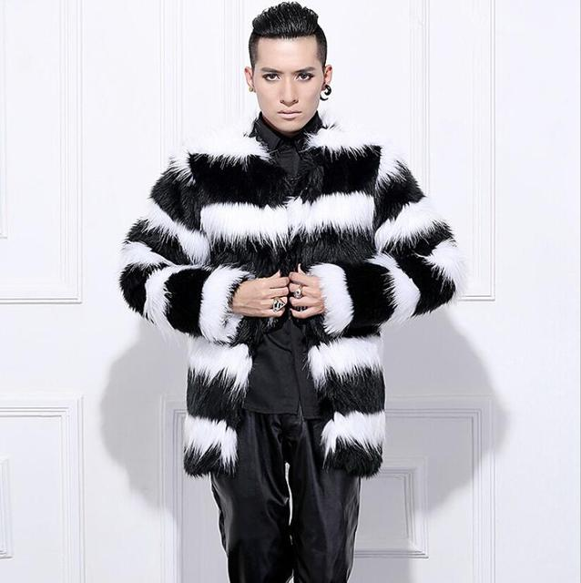 Hot sell 2015 New arrival men winter faux fur coat Fashion Black White stripe rabbit warm fur coats Plus Size Men Coat S-3XL