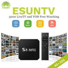 1 год IP ТВ включены S8 MAX RK3328 Android 7,1 Smart ТВ коробка 4 г 32 г телеприставке европа IP ТВ Испания ip ТВ Португалии Канада