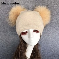 Wholesale Winter Warm Adults Real Raccoon Fur Pompon knitted Beanie Hat