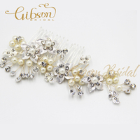 Free Shipping Pearl And Rhinstone Wedding Hair Comb Bridal Headpiece