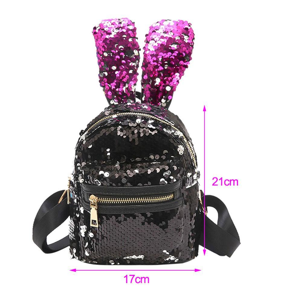 0c9c3f54292a US $9.99 28% OFF|Women Bling Sequins Backpack Cute Big Rabbit Ears Double  Shoulder Bag Women Mini Backpacks Children Girls Travel Bag mochila New-in  ...