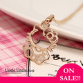 Lovely!!! Rose Gold Plated Cute Hello Kitty Style Lady Pendant Necklace Wholesale On sale
