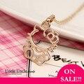 Precioso!!! oro de rose plateado lindo hello kitty estilo colgante, collar de señora al por mayor a la venta