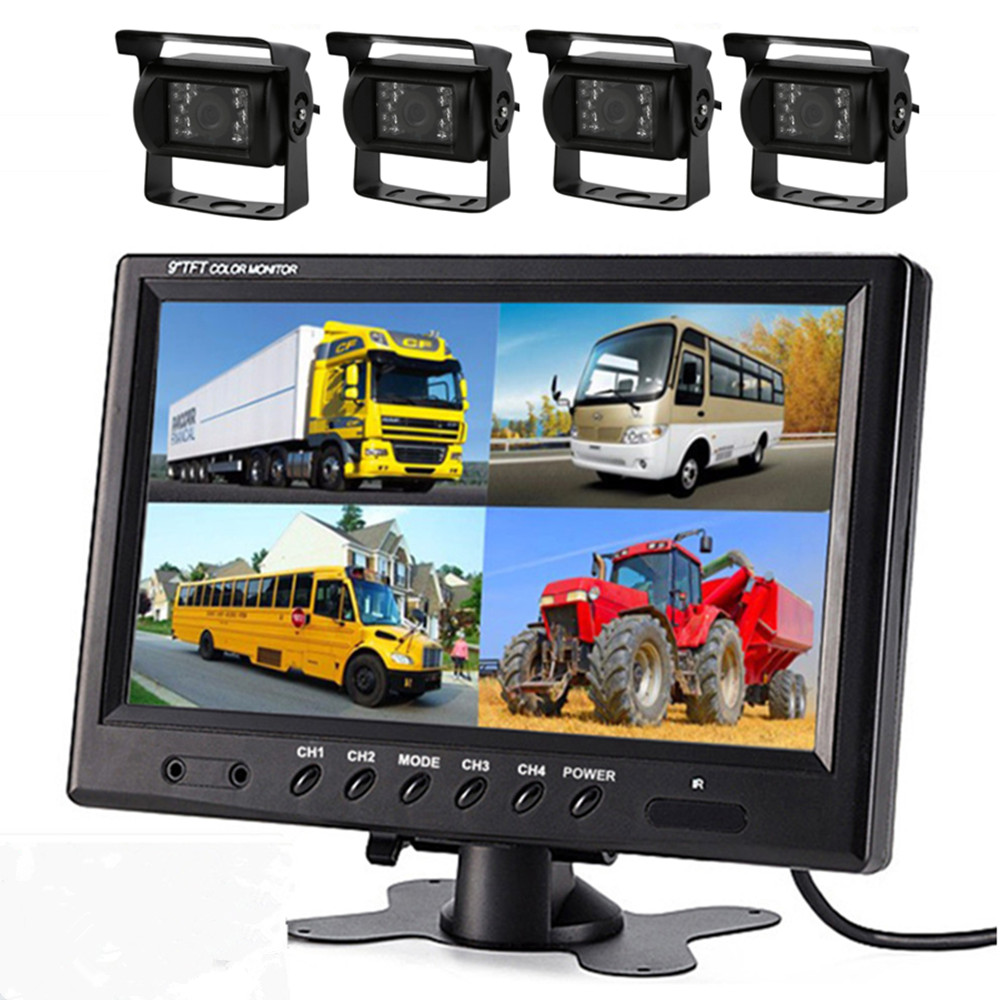 9 inch 4 Split Screen Car Monitor Headrest monitor 4 Channels input Use for Truck Bus