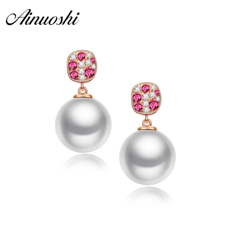 AINUOSHI Luxury Princess Diamond Ruby Earring 18K Rose Gold Real Natural Freshwater White Pearl Drop Earring Wedding Engagement yoursfs 18k white gold plated black rose flower pendant drop hook earring for women