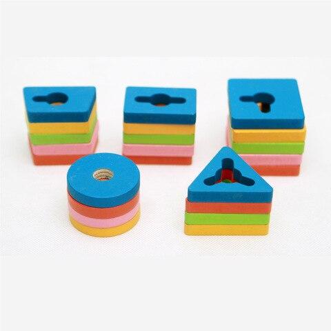 criancas coloridas de madeira cinco coluna forma