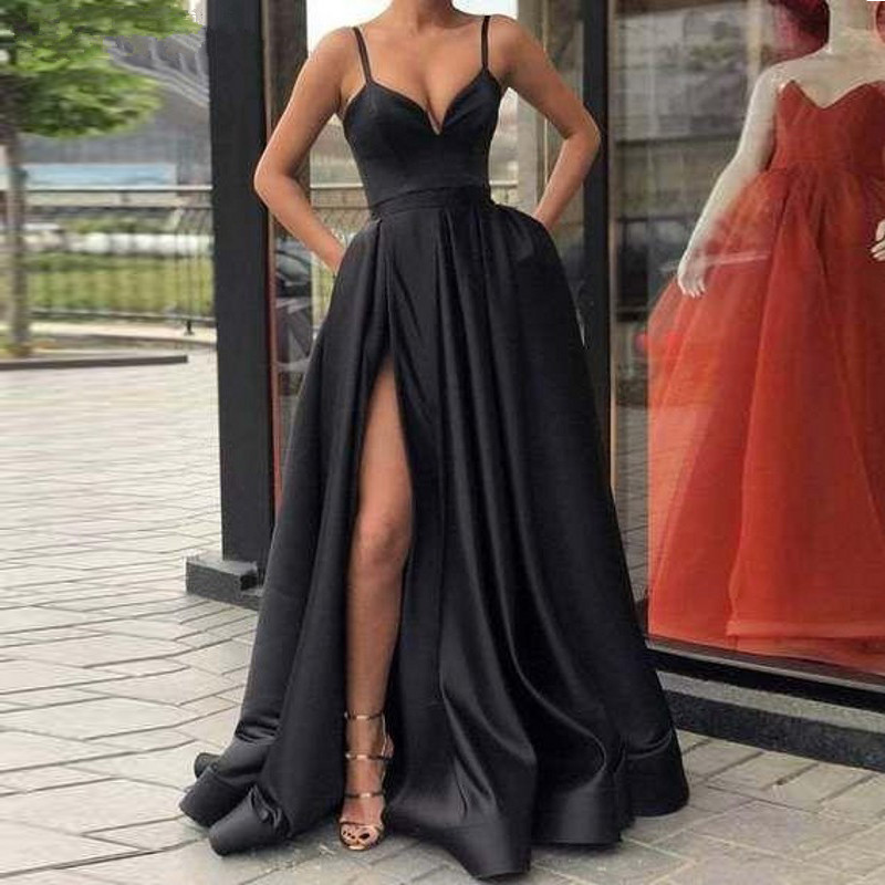 Custom Made Evening Dress with High Slit Satin  Royal Blue Spaghetti Straps Sweetheart Long Evening Gown 2019